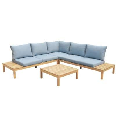 Sorrento 2-Piece Wooden Outdoor Sectional with Blue Cushions