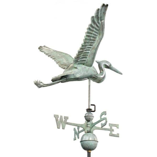 Good Directions Blue Heron with Arrow Garden Weathervane Pure Copper with Garden Pole