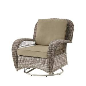 Beacon Park Gray Wicker Outdoor Patio Swivel Lounge Chair with CushionGuard Putty Tan Cushions