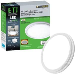 13 in. White Decorative Curved Beveled Edge Selectable CCT LED Flush Mount with Night Light Feature 1350 Lumens