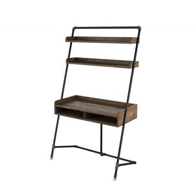 Kasia 41.71 in. W Reclaimed Oak Leaning Writing Desk With 2-Shelves