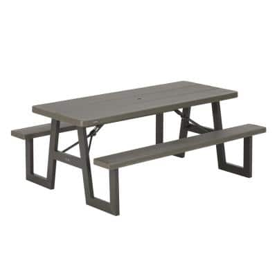 6 ft. Brown Folding Picnic Table with W-Frame