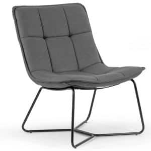 Aurele Grey Faux Leather Armless Accent Chair with Black Metal Legs
