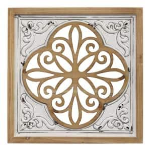 Wood and Metal White Square Wall Decor