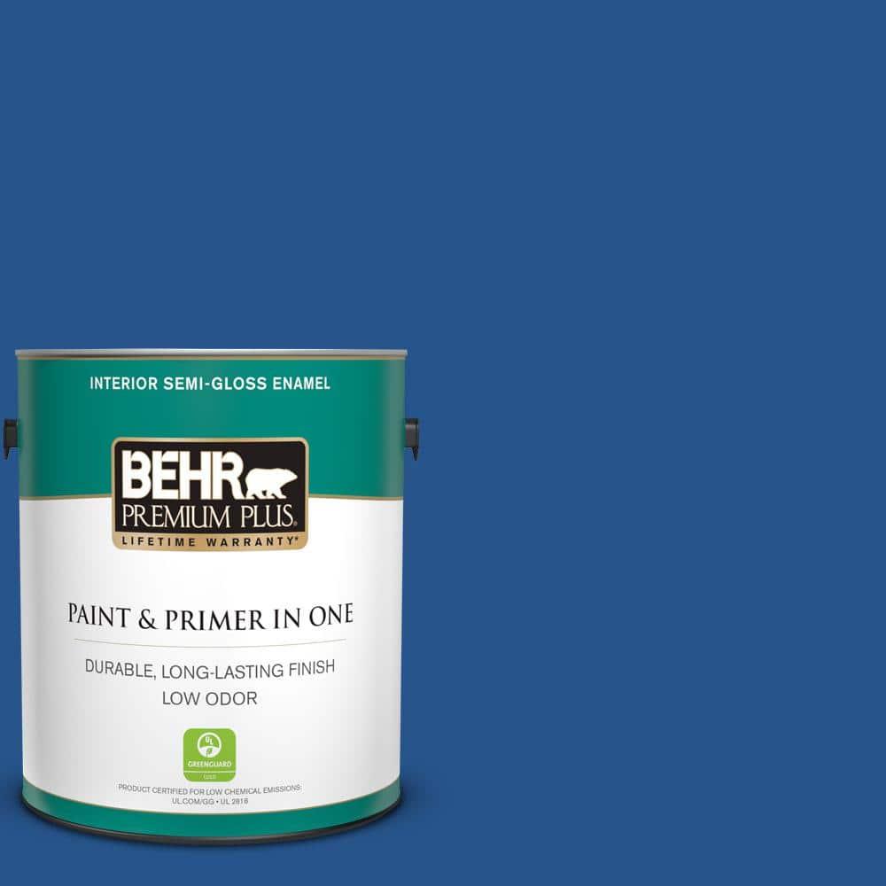 Behr Premium Plus 1 Gal Ppu15 03 Dark Cobalt Blue Semi Gloss Enamel Low Odor Interior Paint And Primer In One 330001 The Home Depot