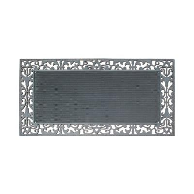 A1HC Paisley Border Black 30 in. x 48 in. Rubber Pin Mat Heavy Duty Double Door Mat