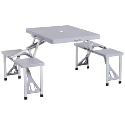 4-Person Plastic Portable Compact Folding Suitcase Picnic Table Set with Umbrella Hole and Simple Setup Grey