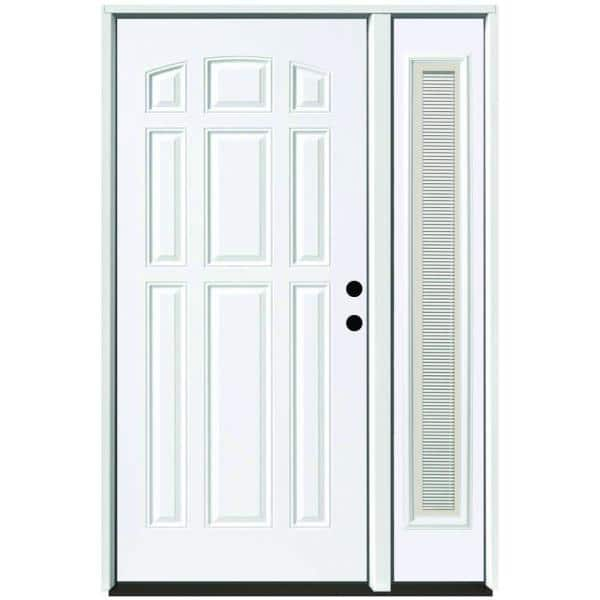Reviews For Steves Sons 53 In X 80 In 9 Panel Primed White Left Hand Steel Prehung Front Door With 14 In Mini Blind Sidelite 4 In Wall St90 Pr S14mb R4lh The Home Depot