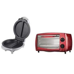 700-Watt Red 4-Slice Toaster Oven and Broiler with 1000-Watt Stainless Steel Electric Omelet Maker