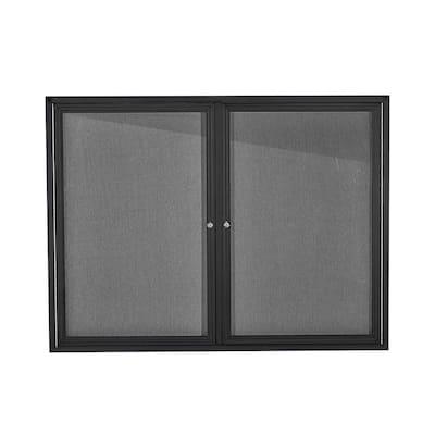 48 in. x 36 in. Black Lockable Double Door Fabric Board Enclosed Bulletin Memo Board