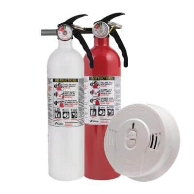 10-Year Worry-Free Home Fire Safety Kit, 3-Pack Smoke Detector with Ionization Sensor and 2-Pack Fire Extinguisher