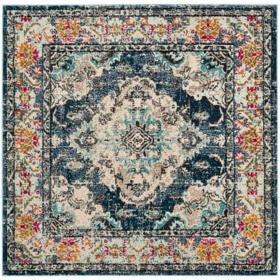 Monaco Navy/Light Blue 3 ft. x 3 ft. Square Area Rug