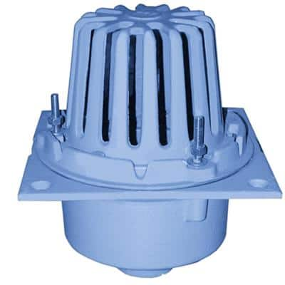 3 in. No Hub CO.D.e Blue Cast Iron Roof Drain with Square Pan