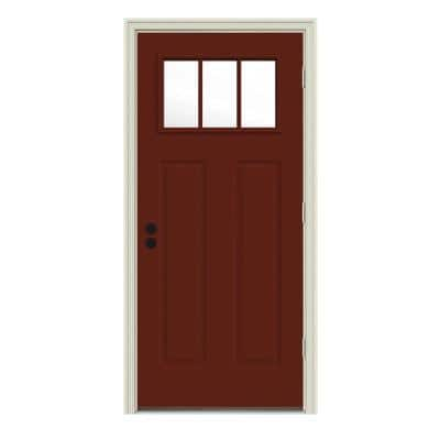 32 in. x 80 in. 3 Lite Craftsman Mesa Red w/ White Interior Steel Prehung Left-Hand Outswing Front Door w/Brickmould
