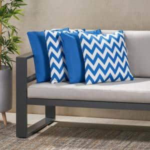 Marisol Solid Blue, Blue and White Chevron Square Outdoor Throw Pillow (4-Pack)