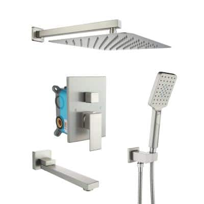 3-Spray with 2.5 GPM 12 in. 3 Functions Tub Wall Mount Dual Shower Heads in Spot in Brushed Nickel (Valve Included)