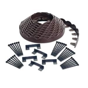 2 in. x 100 ft. Brown Polyethylene Scalloped Woodgrain No-Dig Edging Kit