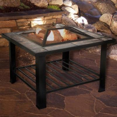 30 in. Square Steel Fire Pit and Table with Cover