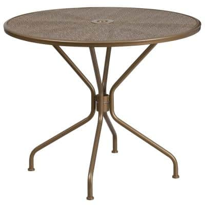 Gold Round Metal Outdoor Bistro Table