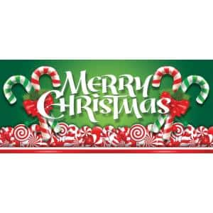 7 ft. x 16 ft. Christmas Candy Christmas Garage Door Decor Mural for Double Car Garage