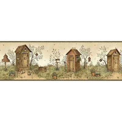 Twain Sand Garden Outhouse Portrait Brown Wallpaper Border
