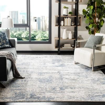 Amelia Ivory/Blue 9 ft. x 12 ft. Abstract Distressed Area Rug