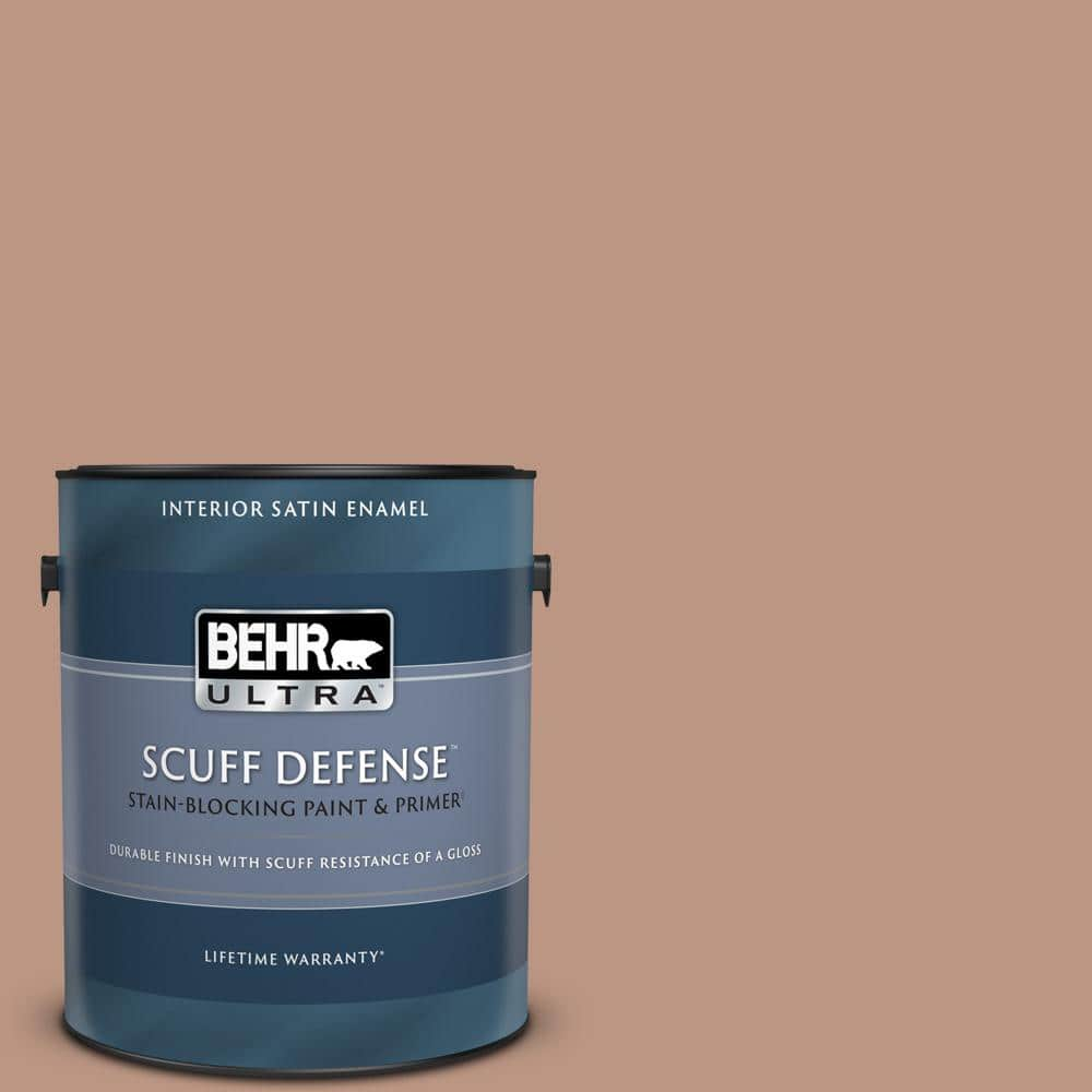 Behr Ultra 1 Gal S190 4 Spiced Brandy Extra Durable Satin Enamel Interior Paint Primer 775401 The Home Depot