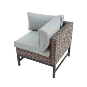 Wicker Left Arm Outdoor Sectional Chair with Gray Cushions