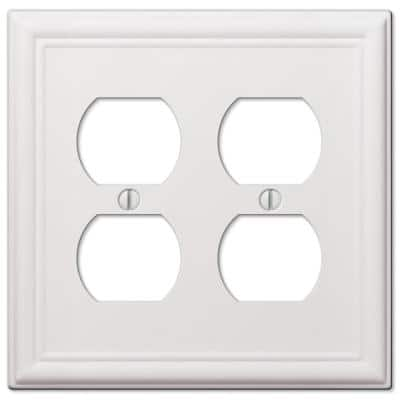 Ascher 2 Gang Duplex Steel Wall Plate - White