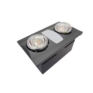 2-Bulb 80 CFM Ceiling Bathroom Exhaust Fan with Light and 2 270W Infrared Heat Bulbs- Oil Rubbed Bronze Grill