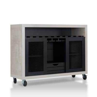 Mangoky Black Mobile Wine Server With Wine Rack