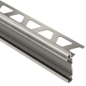 Rondec-CT Brushed Nickel Anodized Aluminum 5/16 in. x 8 ft. 2-1/2 in. Metal Double-Rail Bullnose Tile Edging Trim