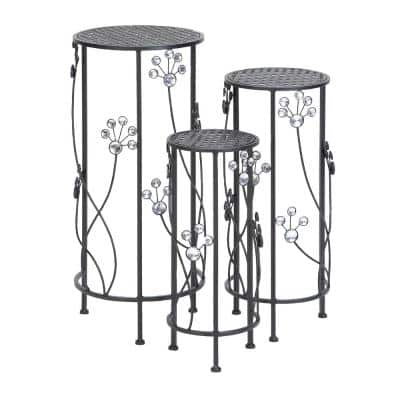 28 in., 24 in. and 20 in. Charcoal Black Round Iron Plant Stands (Set of 3)