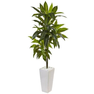Indoor Dracaena Artificial Plant in White Tower Planter