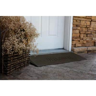 TRANSITIONS Tan 40 in. W x 14 in. L x 1.5 in. H Rubber Angled Entry Door Threshold Welcome Mat