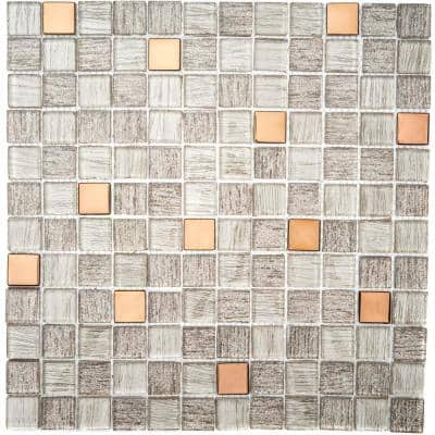 Copper Antwerp 3.93 in. x 3.93 in. Square Joint Gloss Glass Mosaic Wall Tile Sample (0.11 sq. ft./Ea)