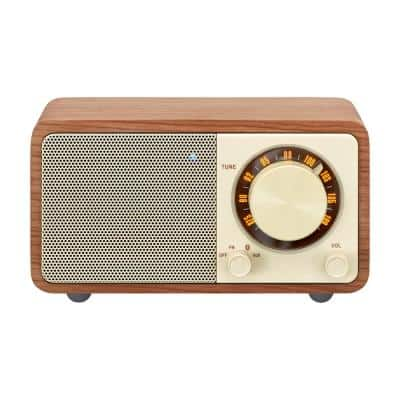 FM Stereo/Aux-in Rechargable Wood Cabinet Mini Bluetooth Speaker