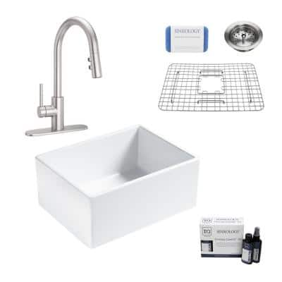 Wilcox II All-in-One Fireclay 24 in. Single Bowl Farmhouse Apron Kitchen Sink with Pfister Stellen Faucet in Stainless