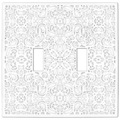 Momfort 2 Gang Toggle Metal Wall Plate - White