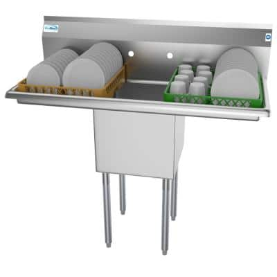 45 in. Freestanding Stainless Steel 1 Compartment Commercial Sink with Drainboard