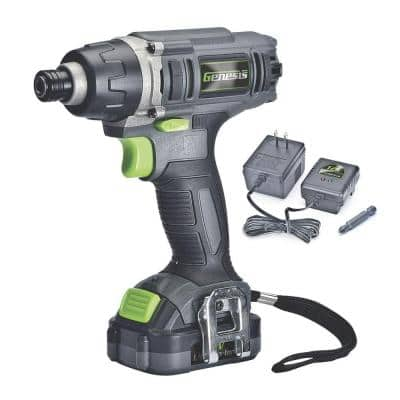 12-Volt Lithium-ion Cordless Quick-Change Impact Driver with Light, Power Indicator, Charger, Battery and Bit
