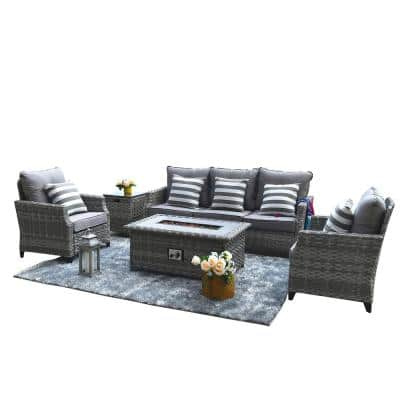 Irene Gray 5-Piece Wicker Patio Fire Pit Conversation Set with Gray Cushions