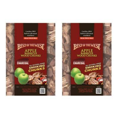 1/5 cu. ft. Bag of Natural Smoking Lump Charcoal/Wood Chunks, Apple (2-Pack)