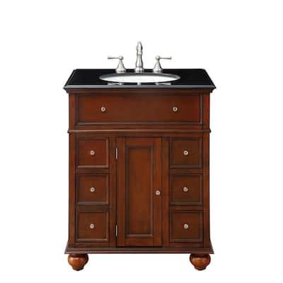 Hampton Harbor 28 in. W x 22 in. D Bath Vanity in Sequoia with Granite Vanity Top in Black