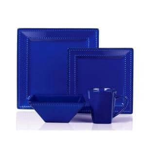 16-Piece Casual Blue Ceramic Stone Dinnerware Set (Service for 4)