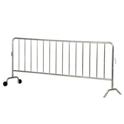 Light Weight Galvanized Steel Crowd Control Interlocking Barrier with 1 Curved Foot and 1 Wheeled Foot