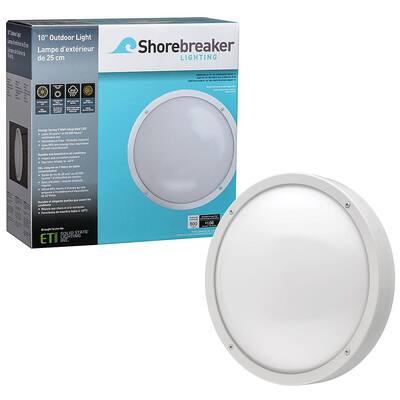 Shorebreaker 10 in. White Round LED Outdoor Bulkhead Light Nautical Coastal Wall or Ceiling 800 Lumens 3000K Soft White