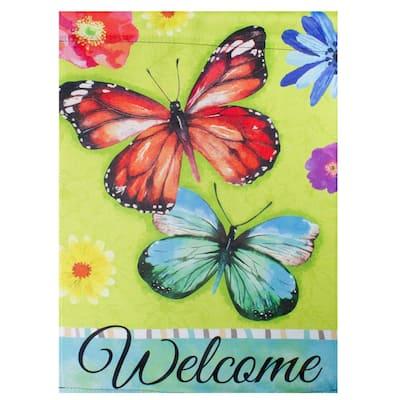 12.5 in. x 18 in. Welcome Butterflies Green Outdoor Garden Flag