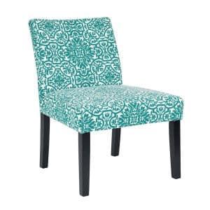 Courteney Turquoise Blue Damask Fabric Armless Side Chair