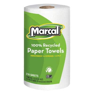 100% Recycled Roll Towels 2-Ply 8.8 x 11 (210 Sheets per Roll, 12 Rolls per Carton)